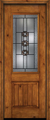 WDMA 30x96 Door (2ft6in by 8ft) Exterior Knotty Alder 96in Alder Rustic V-Grooved Panel 2/3 Lite Single Entry Door Mission Ridge Glass 1