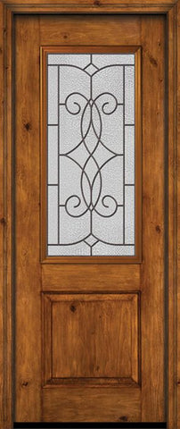 WDMA 30x96 Door (2ft6in by 8ft) Exterior Knotty Alder 96in Alder Rustic Plain Panel 2/3 Lite Single Entry Door Ashbury Glass 1