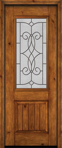 WDMA 30x96 Door (2ft6in by 8ft) Exterior Knotty Alder 96in Alder Rustic V-Grooved Panel 2/3 Lite Single Entry Door Ashbury Glass 1