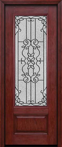 WDMA 30x96 Door (2ft6in by 8ft) Exterior Cherry 96in 3/4 Lite Single Entry Door Mediterranean Glass 1