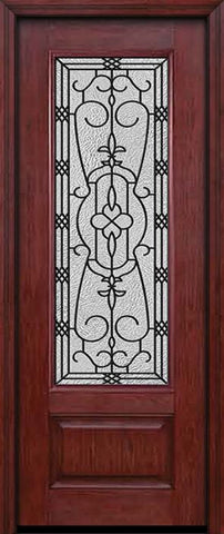 WDMA 30x96 Door (2ft6in by 8ft) Exterior Cherry 96in 3/4 Lite Single Entry Door Jacinto Glass 1