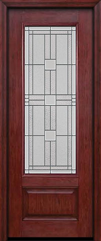 WDMA 30x96 Door (2ft6in by 8ft) Exterior Cherry 96in 3/4 Lite Single Entry Door Monterey Glass 1