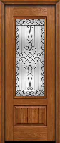 WDMA 30x96 Door (2ft6in by 8ft) Exterior Cherry 96in Plank Panel 3/4 Lite Single Entry Door Wyngate Glass 1