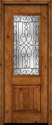WDMA 30x96 Door (2ft6in by 8ft) Exterior Knotty Alder 96in Alder Rustic V-Grooved Panel 2/3 Lite Single Entry Door Wyngate Glass 1