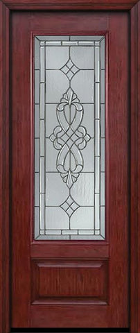 WDMA 30x96 Door (2ft6in by 8ft) Exterior Cherry 96in 3/4 Lite Single Entry Door Windsor Glass 1