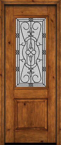 WDMA 30x96 Door (2ft6in by 8ft) Exterior Knotty Alder 96in Alder Rustic Plain Panel 2/3 Lite Single Entry Door Jacinto Glass 1