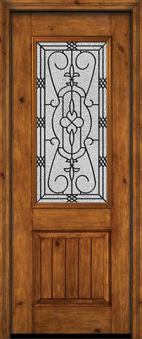 WDMA 30x96 Door (2ft6in by 8ft) Exterior Knotty Alder 96in Alder Rustic V-Grooved Panel 2/3 Lite Single Entry Door Jacinto Glass 1