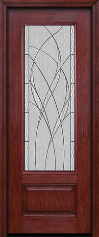 WDMA 30x96 Door (2ft6in by 8ft) Exterior Cherry 96in 3/4 Lite Single Entry Door Waterside Glass 1