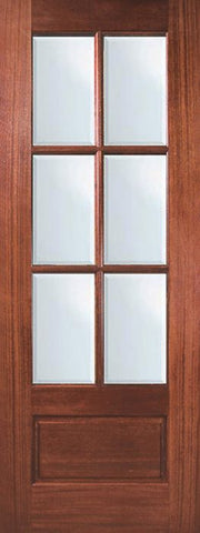 WDMA 30x96 Door (2ft6in by 8ft) Patio Mahogany 96in 6 Lite TDL DoorCraft Door w/Bevel IG 1