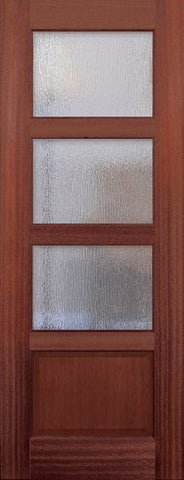 WDMA 30x96 Door (2ft6in by 8ft) Exterior Mahogany 96in 3 lite TDL Continental DoorCraft Door w/Textured Glass 1