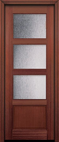 WDMA 30x96 Door (2ft6in by 8ft) Exterior Mahogany 96in 3 lite TDL Continental DoorCraft Door w/Textured Glass 2