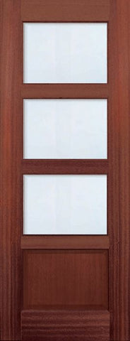 WDMA 30x96 Door (2ft6in by 8ft) Exterior Mahogany 96in 3 lite TDL Continental DoorCraft Door w/Bevel IG 1