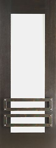 WDMA 30x96 Door (2ft6in by 8ft) Exterior Mahogany 2-1/4in Thick Contemporary Door Iron Work Low-E Glass 1