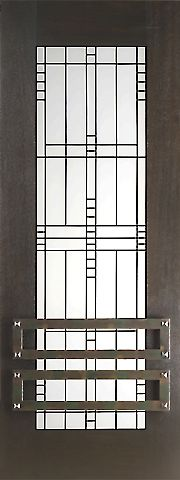 WDMA 30x96 Door (2ft6in by 8ft) Exterior Mahogany 2-1/4in Thick Contemporary Door Matte Glass Iron Work 1