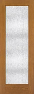 WDMA 30x96 Door (2ft6in by 8ft) Patio Oak Fiberglass Impact Exterior Door 8ft Full Lite Flush Chord 1