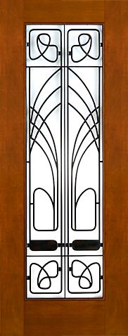 WDMA 30x96 Door (2ft6in by 8ft) Exterior Mahogany 2-1/4in Thick Art Nouveau Door Wrought Iron Low-E Glass 1