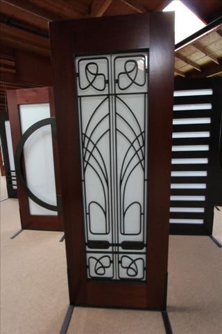 WDMA 30x96 Door (2ft6in by 8ft) Exterior Mahogany 2-1/4in Thick Art Nouveau Door Wrought Iron Low-E Glass 3