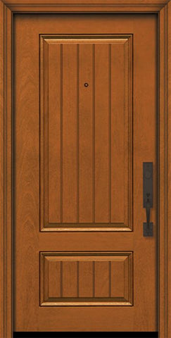 WDMA 32x80 Door (2ft8in by 6ft8in) Exterior Mahogany IMPACT | 80in 2 Panel Square V-Grooved Door 1