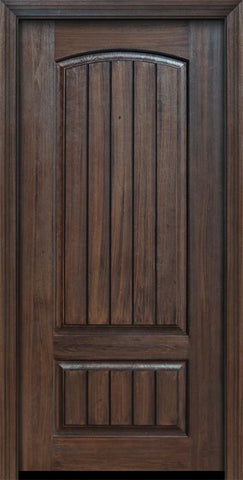 WDMA 32x80 Door (2ft8in by 6ft8in) Exterior Cherry IMPACT | 80in 2 Panel Arch V-Grooved or Knotty Alder Door 1