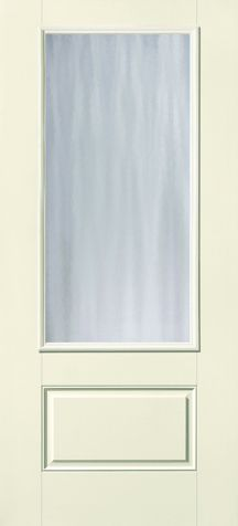 WDMA 32x80 Door (2ft8in by 6ft8in) French Smooth Fiberglass Impact HVHZ Door 3/4 Lite 1 Panel Chord 6ft8in 1