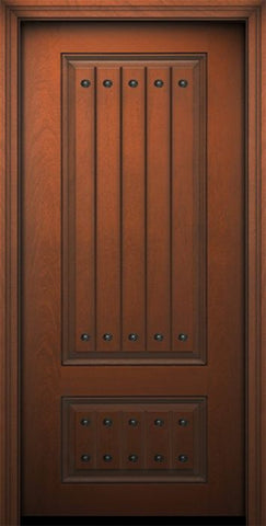 WDMA 32x80 Door (2ft8in by 6ft8in) Exterior Mahogany IMPACT | 80in 2 Panel Square V-Grooved Door with Clavos 1