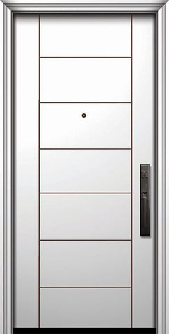 WDMA 32x80 Door (2ft8in by 6ft8in) Exterior Smooth IMPACT | 80in Brentwood Contemporary Door 1