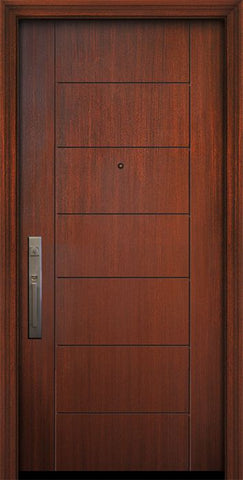 WDMA 32x80 Door (2ft8in by 6ft8in) Exterior Mahogany 80in Brentwood Solid Contemporary Door 1