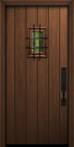 WDMA 32x80 Door (2ft8in by 6ft8in) Exterior Mahogany IMPACT | 80in Plank Door with Speakeasy 1