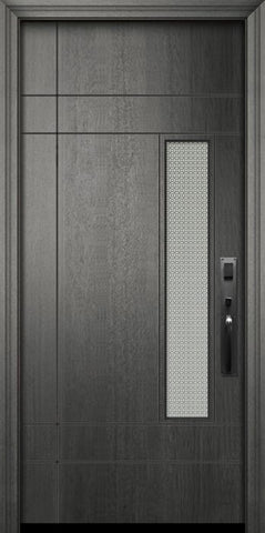 WDMA 32x80 Door (2ft8in by 6ft8in) Exterior Mahogany 80in Santa Barbara Contemporary Door w/Metal Grid 2