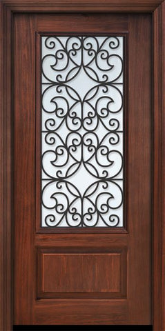 WDMA 32x80 Door (2ft8in by 6ft8in) Exterior Cherry 80in 1 Panel 3/4 Lite Florence / Walnut Door 1