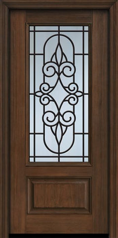 WDMA 32x80 Door (2ft8in by 6ft8in) Exterior Cherry 80in 1 Panel 3/4 Lite Salento / Walnut Door 1