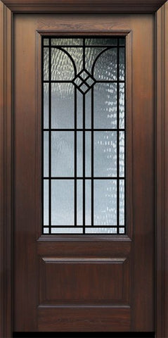 WDMA 32x80 Door (2ft8in by 6ft8in) Exterior Cherry 80in 1 Panel 3/4 Lite Cantania / Walnut Door 1