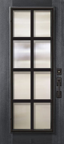 WDMA 32x80 Door (2ft8in by 6ft8in) Exterior Mahogany 80in Full Lite Minimal Steel Grille Portobello Door 1