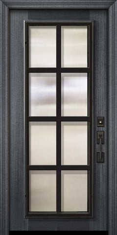 WDMA 32x80 Door (2ft8in by 6ft8in) Exterior Mahogany 80in Full Lite Minimal Steel Grille Portobello Door 2