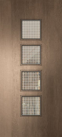 WDMA 32x80 Door (2ft8in by 6ft8in) Exterior Mahogany 80in Venice Contemporary Door w/Metal Grid 1