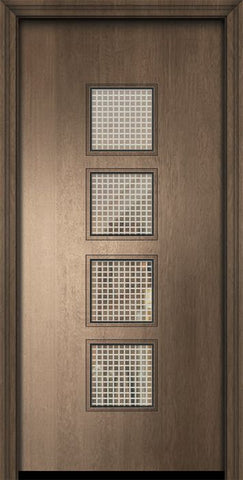 WDMA 32x80 Door (2ft8in by 6ft8in) Exterior Mahogany 80in Venice Contemporary Door w/Metal Grid 2