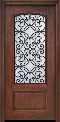 WDMA 32x80 Door (2ft8in by 6ft8in) Exterior Cherry 80in 1 Panel 3/4 Arch Lite Florence / Walnut Door 1