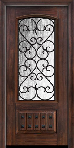 WDMA 32x80 Door (2ft8in by 6ft8in) Exterior Cherry 80in 1 Panel 3/4 Arch Lite Palermo / Walnut Door 1