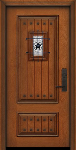 WDMA 32x80 Door (2ft8in by 6ft8in) Exterior Mahogany 80in 2 Panel Square V-Grooved Door with Speakeasy / Clavos 1