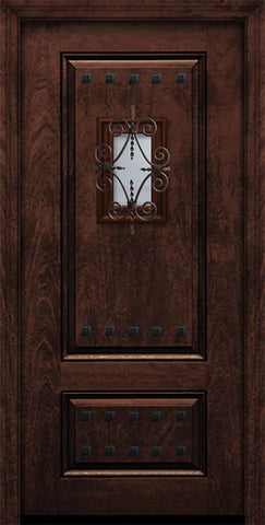 WDMA 32x80 Door (2ft8in by 6ft8in) Exterior Mahogany 80in 2 Panel Square Door with Speakeasy / Clavos 1