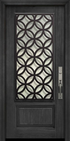 WDMA 32x80 Door (2ft8in by 6ft8in) Exterior Cherry 80in 1 Panel 3/4 Lite Eclectic Steel Grille Door 1