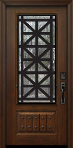 WDMA 32x80 Door (2ft8in by 6ft8in) Exterior Cherry 80in 1 Panel 3/4 Lite Contempo Steel Grille Door 1