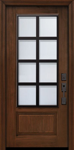 WDMA 32x80 Door (2ft8in by 6ft8in) Exterior Cherry 80in 1 Panel 3/4 Lite Minimal Steel Grille Door 1