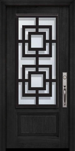 WDMA 32x80 Door (2ft8in by 6ft8in) Exterior Cherry 80in 1 Panel 3/4 Lite Moderna Steel Grille Door 1
