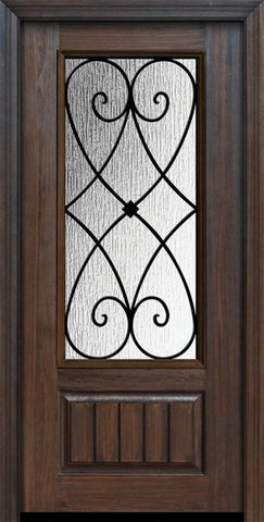 WDMA 32x80 Door (2ft8in by 6ft8in) Exterior Cherry 80in 1 Panel 3/4 Lite Charleston Door 1