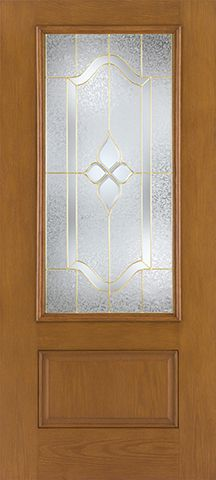 WDMA 32x80 Door (2ft8in by 6ft8in) Exterior Oak Fiberglass Impact Door 3/4 Lite Concorde 6ft8in 1