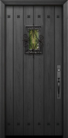 WDMA 32x80 Door (2ft8in by 6ft8in) Exterior Mahogany IMPACT | 80in Plank Door with Speakeasy / Clavos 1