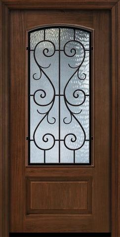 WDMA 32x80 Door (2ft8in by 6ft8in) Exterior Cherry 80in 1 Panel 3/4 Arch Lite St Charles Door 1