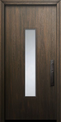 WDMA 32x80 Door (2ft8in by 6ft8in) Exterior Mahogany 80in Malibu Solid Contemporary Door w/Textured Glass 1