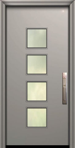 WDMA 32x80 Door (2ft8in by 6ft8in) Exterior Smooth 80in Venice Solid Contemporary Door w/Textured Glass 1